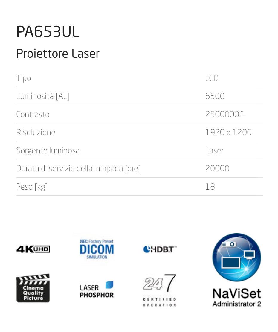 Proiettore NEC Lcd Professional mod PA653UL Luminosità AL 6500 + lente NP13ZL