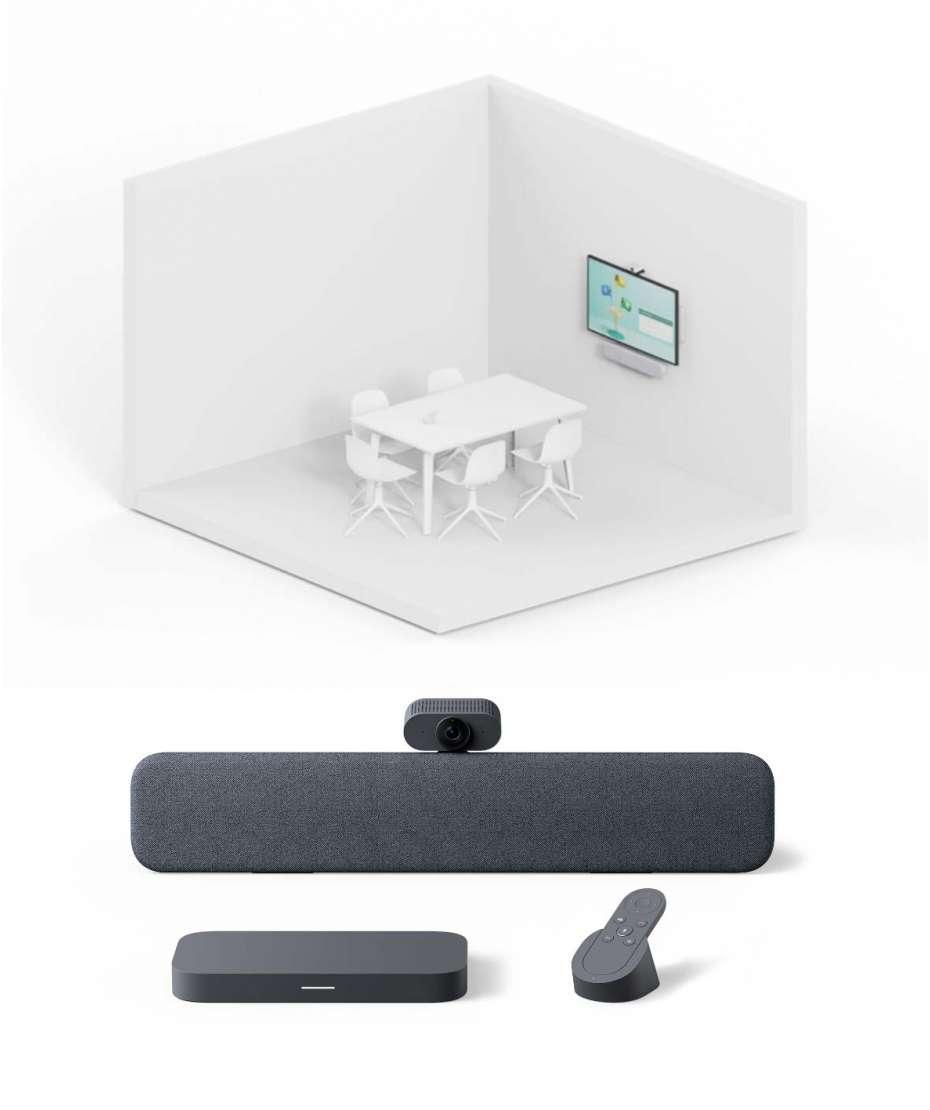 Soluzione Sala Riunioni Piccole Sistema Google Meet Series One Room Kit di Lenovo