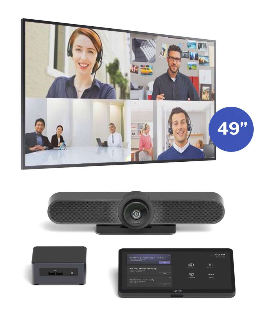 Soluzione Sale Riunioni Piccole Sistema Logitech Meetup + Monitor Samsung 4K mod. QM49R
