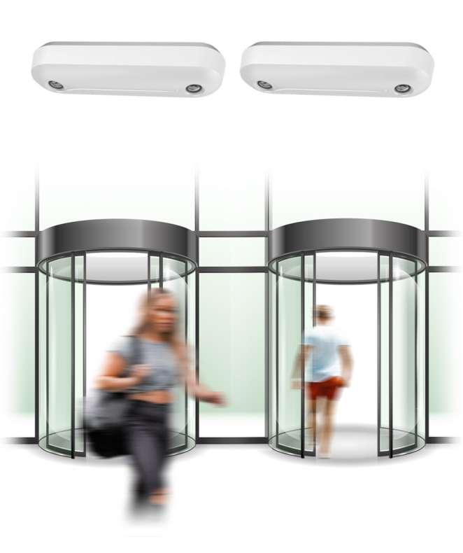 Soluzione people counting per 2 varchi (ingresso e uscita) + telecamera Ideogear Abacus