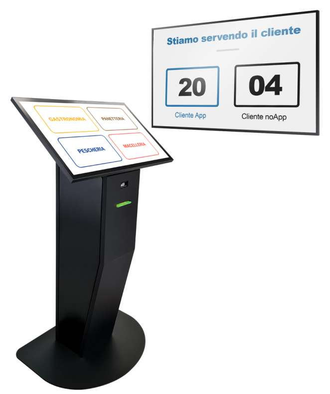 """Monitor 49"""" QB49R + Totem multimediale con software eliminacode, display 32"""" touch screen e stampante ticket"""