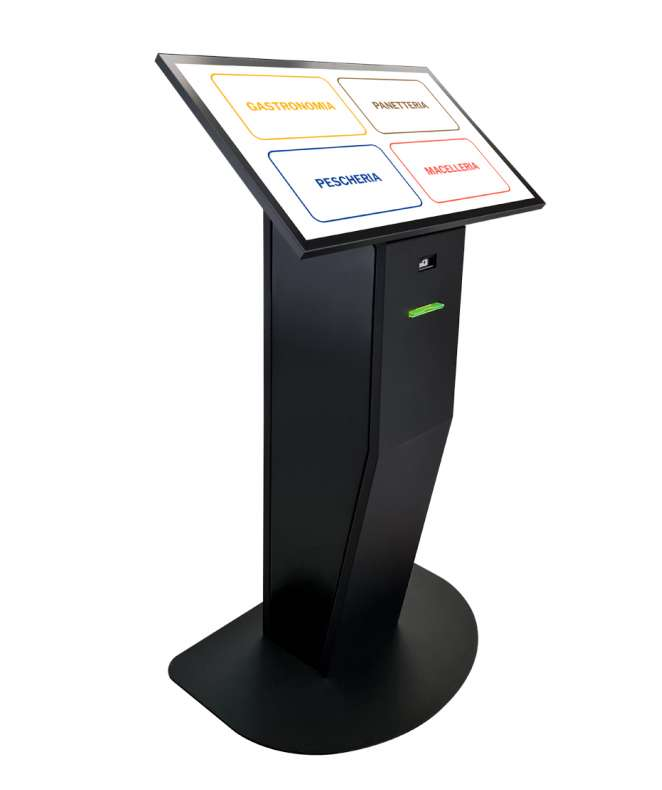 "Totem multimediale con software eliminacode, display 32"" touch screen e stampante ticket"