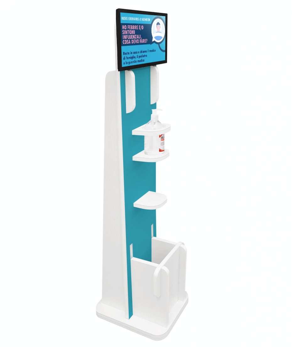 """Soluzione multimediale con display 13"""", dispenser gel e personalizzazione frontale"""