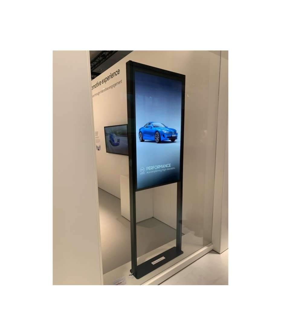 Floor mount for Samsung OM55ND back-to-back in-window displays