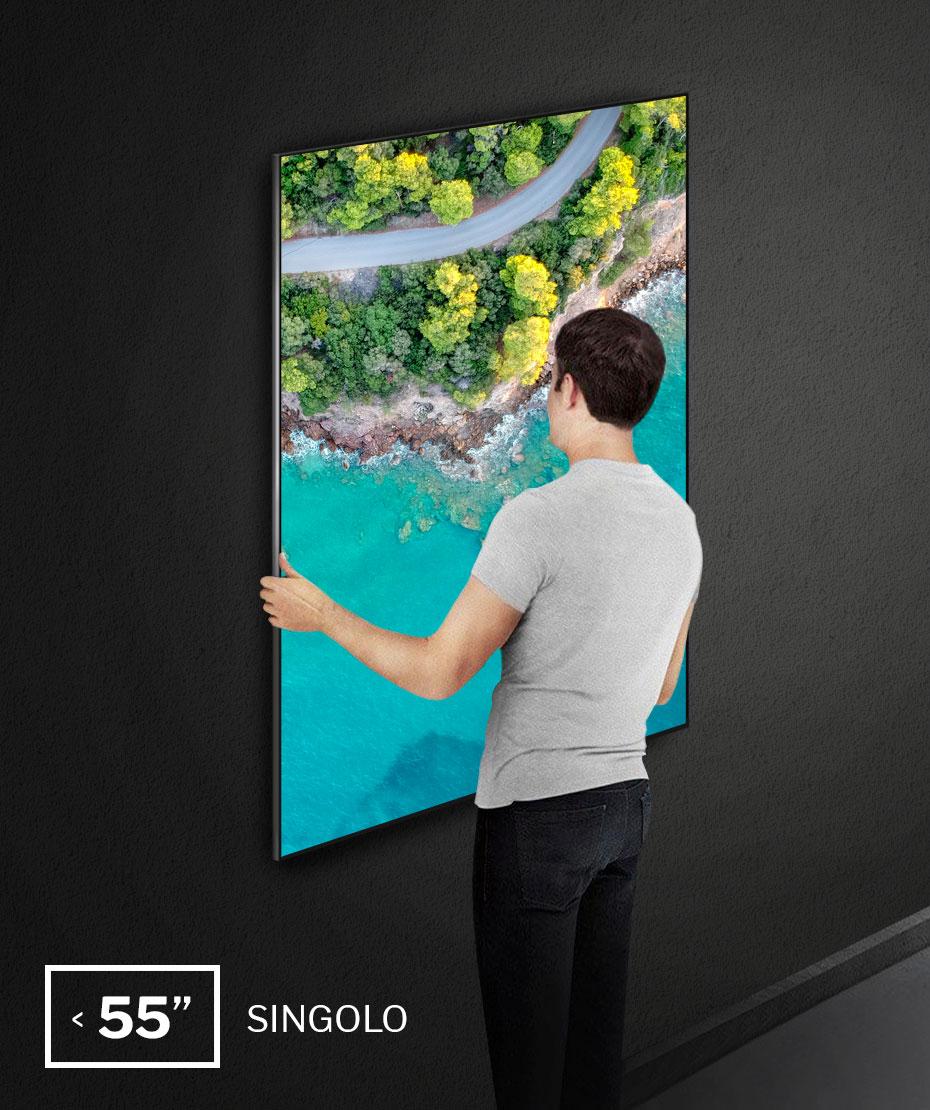 """Installazione a parete monitor oltre i 55"""", single installation"""