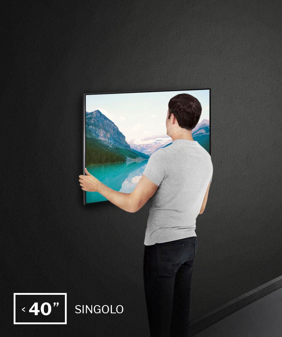 """Installazione a parete monitor fino a 40"""", single installation"""