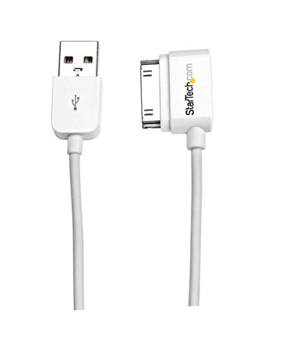 Cavo lungo connettore dock Apple 30 pin con angolare sinistro a USB 2 m per iPhone / iPod / iPad con connettore a gradino