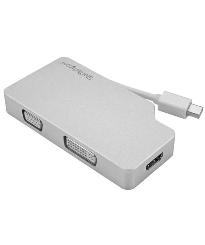 Adattatore Audio/Video da Viaggio 3 in 1 - Mini DisplayPort a VGA, DVI o HDMI - in Alluminio - 4K
