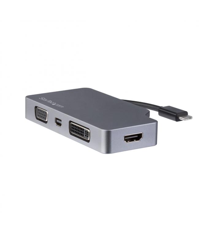 Adattatore Video USB-C Multi-Porta - Grigio Siderale - 4 in 1 USB-C a VGA, DVI, HDMI o mDP - 4K