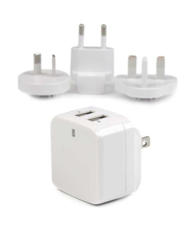 Caricatore da Parete a doppia porta x2 USB ad alta potenza ( 17W / 3.4 Amp ) con prese da viaggio (Internazionale) - bianco