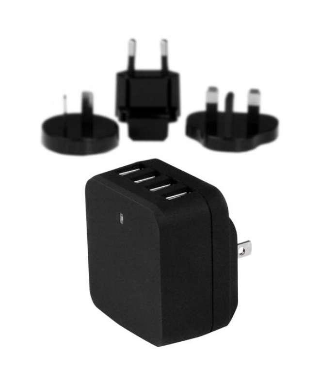 Caricatore da Parete a 4 porte USB con spine Internazionaili - 34W/6.8A - Nero
