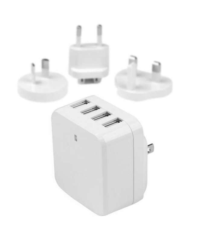Caricatore da Parete a 4 porte USB con spine Internazionaili - 34W/6.8A - Bianco