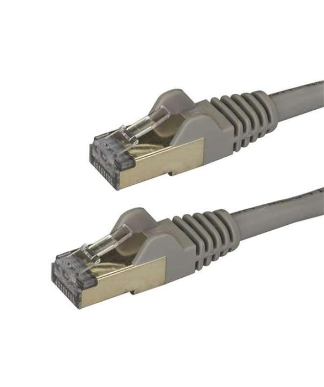 Cavo di Rete Ethernet Cat6a - Cavo Schermato STP da 50cm - Grigio
