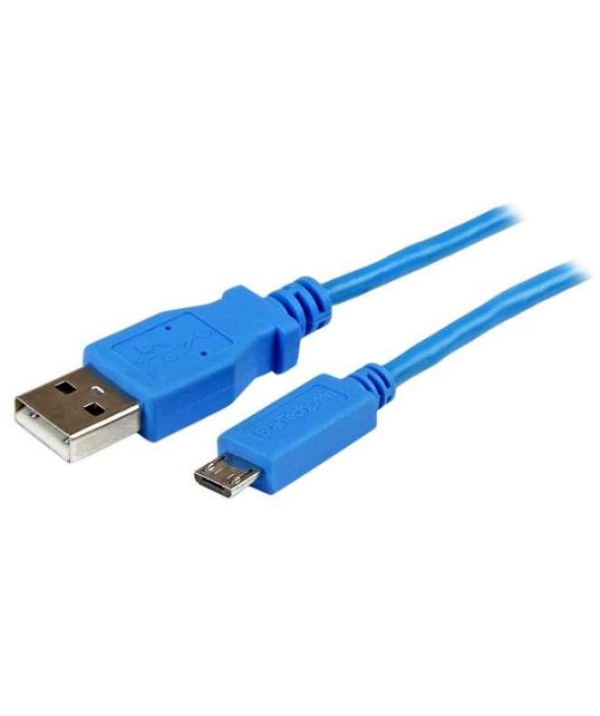 Cavo di sincronizzazione e di ricarica USB a Micro USB - Cavetto slim per Smartphone e Tablet A a Micro B da 1 m - Blu
