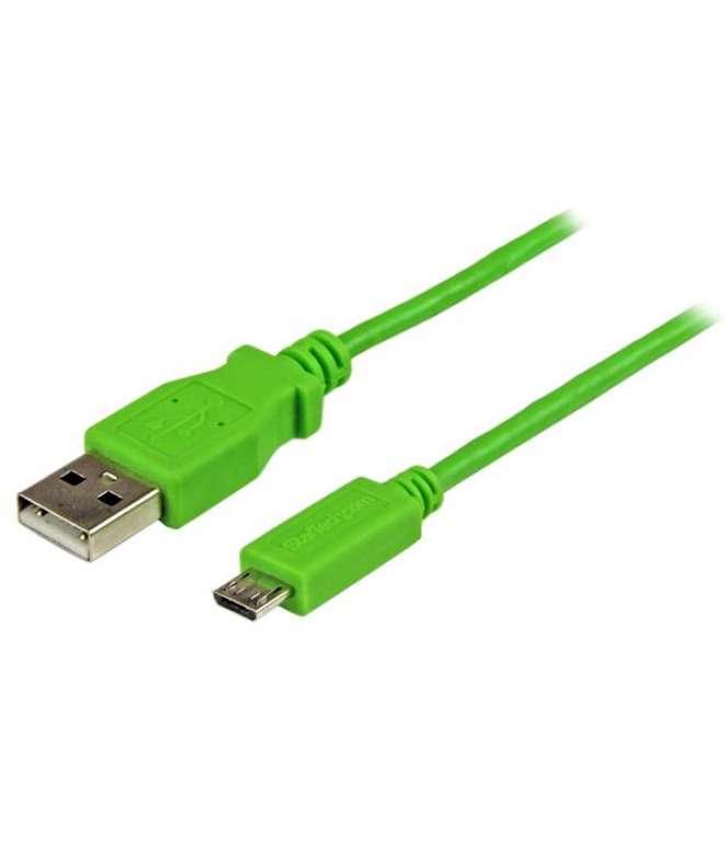 Cavo di sincronizzazione e di ricarica USB a Micro USB - Cavetto slim per Smartphone e Tablet A a Micro B da 1 m - Verde