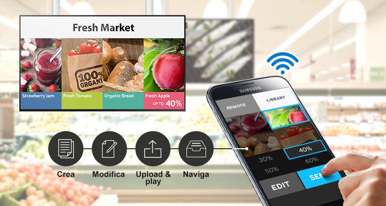 Gestisci il digital signage tramite wireless, in qualsiasi momento e in qualsiasi luogo ti trovi, da dispositivo mobile
