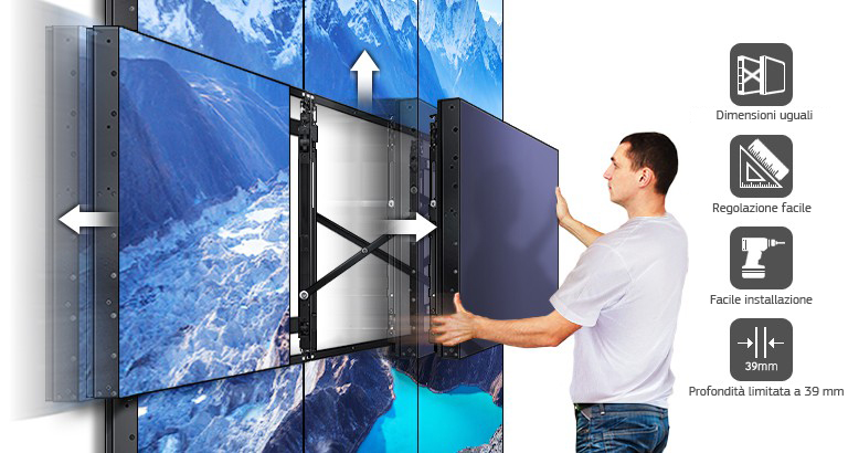 Montaggio a parete sottile e di facile configurazione su misura in base alle specifiche esigenze operative