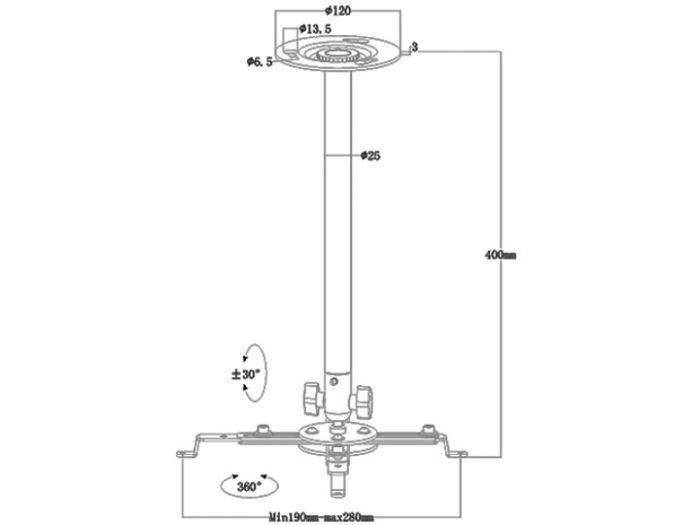 Staffa da soffitto regolabile 40/175 cm MB2544