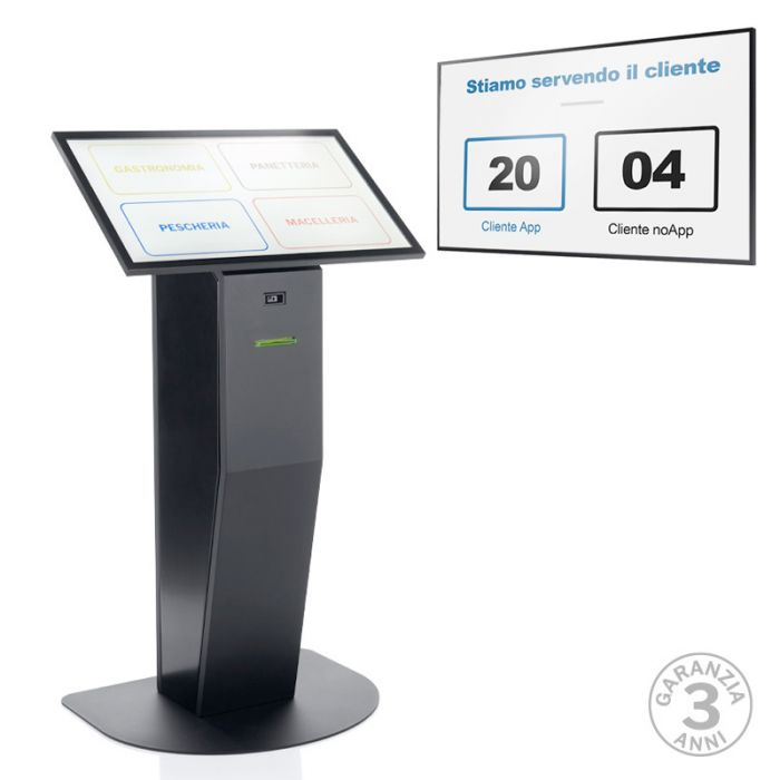 """Monitor 50"""" QB50R + Totem multimediale , display 32"""" touch screen e stampante ticket con software eliminacode Kiosk+Visore"""