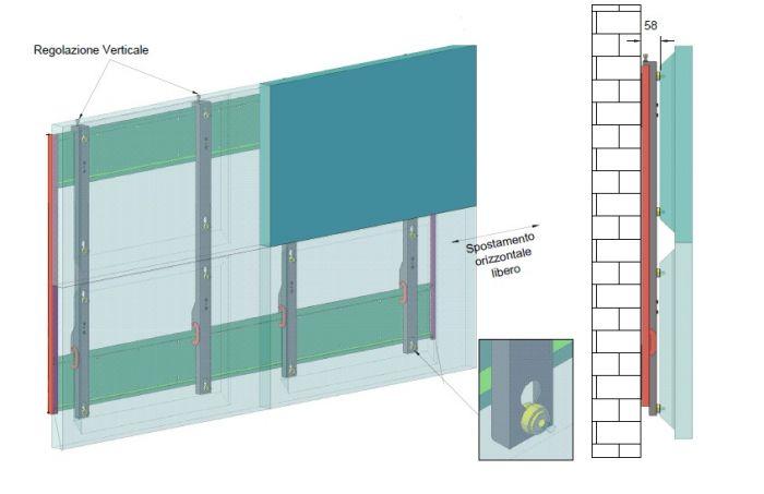 """Staffa da muro per videowall 46"""" 2X2 PM5370"""